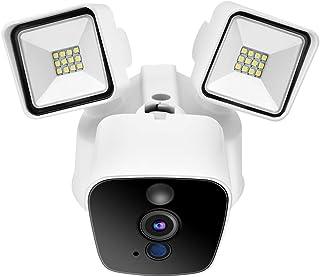 Cámara de Seguridad inalámbrica WiFi 1080P HD Cámara de vigilancia remota con Reflector Sensor de Movimiento Alarma activada por Movimientopara Exteriores(EU)