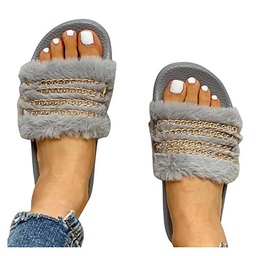 Damen Sandalen Latschen Plüsch Schlappen Pantoffeln Women Casual Sandal Shoes Sommer Strand Freizeitschuhe Hausschuhe Römer Sommerschuhe Hausschuhe Outdoor Slippers (Grau, 38)