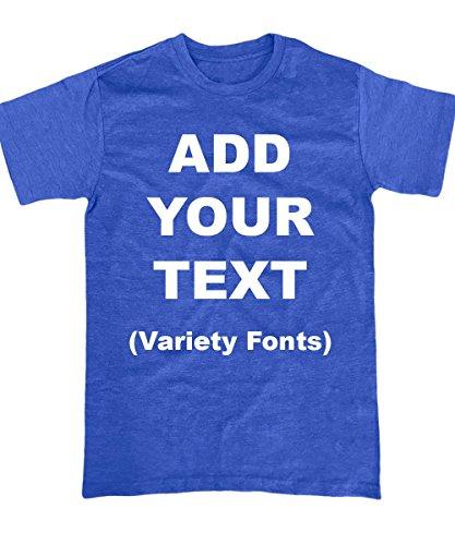 Custom T Shirts Ultra Soft Add Your Text for Men & Women Unisex Cotton T Shirt [Blue/XL]