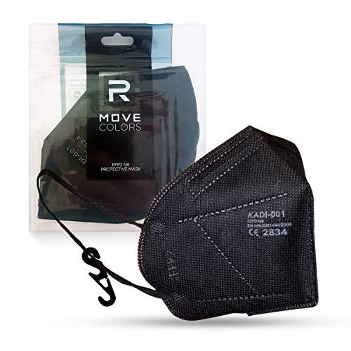RMOVE Maske FFP2 SCHWARZ Einweg-Fachgerät Persönlicher Schutz, innen weiß, komfortabler elastischer er Erwachsener mit Haken inklusive Multipack 20 Stück