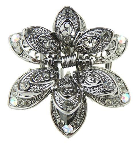 Femmes Look Vintage Gris foncé en métal Strass Cristal Mini 4 cm Griffe de Cheveux Clamp