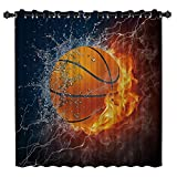 BedSweet Blackout Room Darkening Curtains, 52 inch Wide by 84 inch Long Basketball Ball on Fire and Water Flame Splashing Desgin Window Panel Drapes for Kitchen/Bedroom