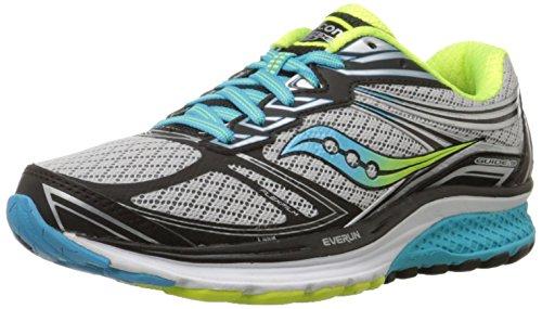 Saucony Women's Guide 9 Running Shoe, Grey/Blue/Citron, 6 W US