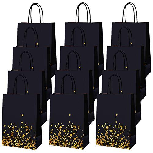 Cooraby 30 Stück bronzefarbenes Gold Schwarz Papiertüten Partytüten Goldtüten Geburtstagsgeschenk Junggesellinnenabschied Taschen mit Griff für Gastgeschenke