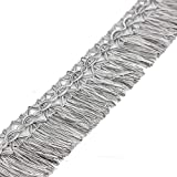 Yalulu 10 Yards Tassels Fringe Lace Trim Tassel Ribbon for Clothes Accessories DIY Sewing Applique Craft (#2 Grey)