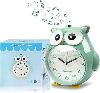 Wndy's Dream Réveil, hiboux réveil sans tac pour Enfants silencieuse avec veilleuse et Alarme Forte