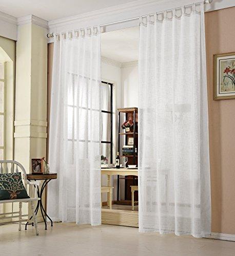 WOLTU® VH5864ws, Gardinen transparent mit Schlaufen Leinen Landhaus Optik, Schlaufenschal Vorhang Stores Voile Fensterschal für Wohnzimmer Kinderzimmer Schlafzimmer, 140x225 cm, Weiß, (1 Stück)