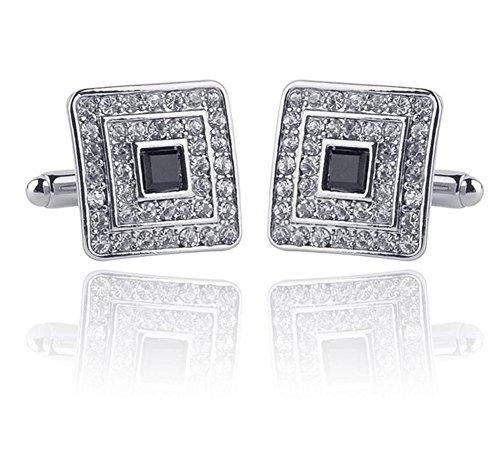 Ynnxia europäischen und amerikanischen Schmuck Manschettenknöpfe Manschetten Französisch Diamant Manschettenknöpfe Business Herrenhemd Zubehör 1 Paar Silber