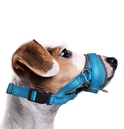 Nasjac Dog Maulkorb, Update Bequemer Verhindern Sie das Beißen Bellen Kauen Verhaltenstraining Einstellbare Soft Reflective Quick Fit Nylon Hundemundschutz für mittelgroße Hunde