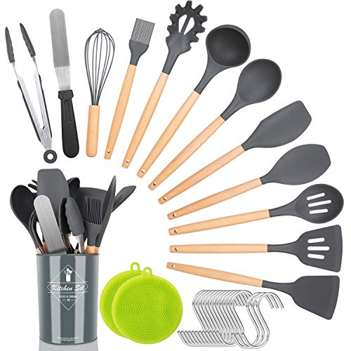 Kitchen Utensil Set,30 Pcs Silicone Cooking Utensils with Wooden Handles,Nonstick Cookware Utensils Kitchen Gadgets Set,Complete Kitchen Tools with Holder,Apartment Essentials Best Gifts