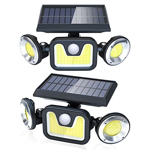 Luz Solar Exterior Lámpara Impermeable 83LED-450lumen, Ltteny 2-Paquete Focos Led Exterior Solares de Movimiento Gran Ángulo 270º de Iluminación Luces, Luces Led Exterior Jardin 2400mAh y 3 Modos