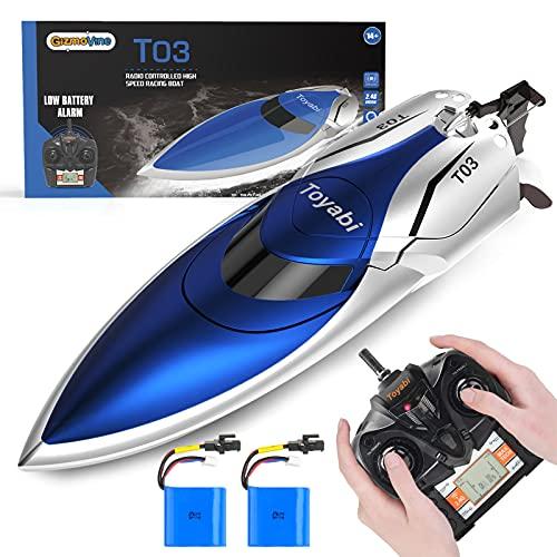 GizmoVine Ferngesteuertes Boot,Schnelle Geschwindigkeit RC Boot,25KM / H 2.4 GHZ Rennboote mit 2 wiederaufladbaren Batterien LCD Alarm bei schwacher Batterie für Jungen Mädchen Erwachsene (Blau)