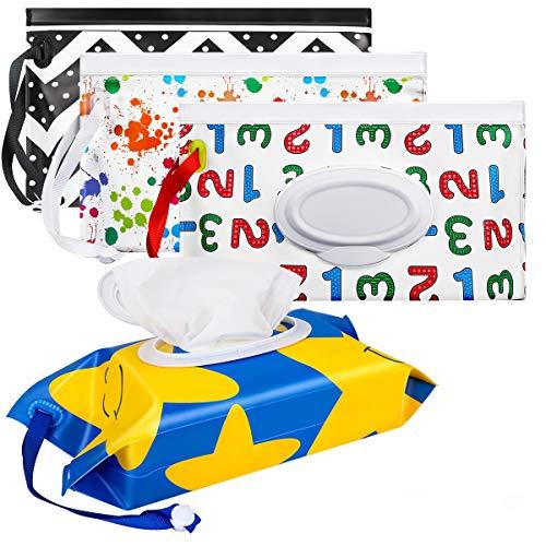 Bolsas para toallitas, Maxjaa soporte portátil para toallitas para bebés Bolsa para toallitas reutilizables con salida ovalada, cordón extraíble y cierre hermético, ideal para viaje, ecológicas