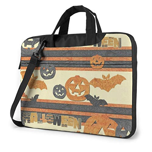 Happy Halloween Pumpkin and Bat Laptop Case 13 Inch Computer Carrying Protective Case with Strap Bag