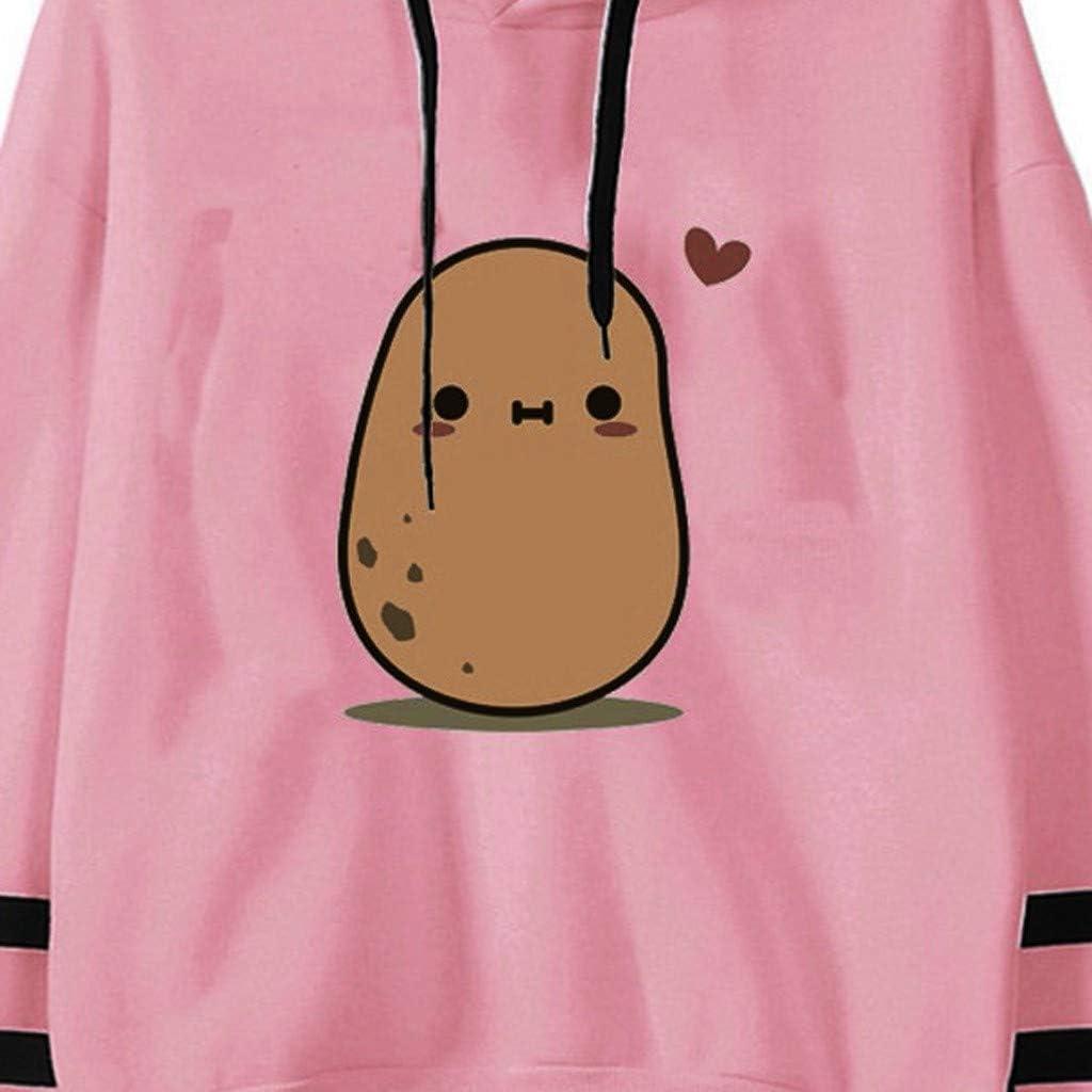 Aniwood Sweatshirts for Women, Women's Teen Girls Cute Nut Printing Long Sleeve Hoodies Pullover Jumper Hooded Tops
