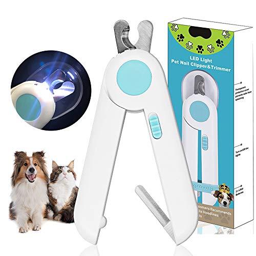 Tagliaunghie per Cani, Tagliaunghie Gatto,Tagliaunghie Professionali per Animali, con Luci a LED e Dispositivo di Protezione dagli Schizzi, per Animali di Piccola e Media Taglia.
