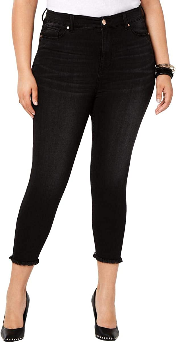 Celebrity Pink Womens Plus High Rise Denim Cropped Jeans Black 24
