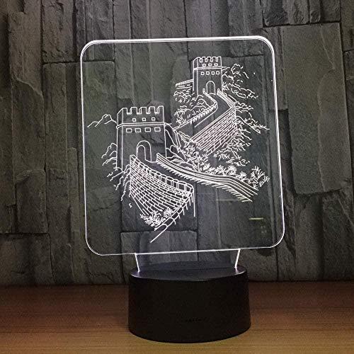 3D Luz de noche para niñosGran muralla china Lámpara 3D Toque colorido Lámparas Decoración Producto creativo Decoración Regalo Luz de noche Cumpleaños Acrílico Regalos Fiesta Botón de Navi
