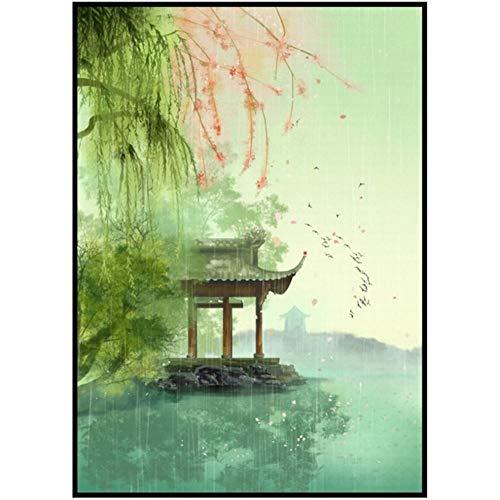 Guokaixyz Kleurrijke inkt schilderij papier paraplu paviljoen wagen Chinese kunst vrije hand poetisch landschap canvas decoratief schilderwerk geen lijst 21x30cm 2