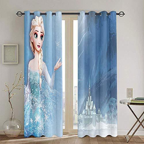Cortinas opacas para dormitorio de niños, diseño de Frozen