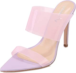 vivianly Sexy Clear High Heels Transparent Strap Mules Pointed Toe Stilettos Slip on Dress Heel Sandals for Women