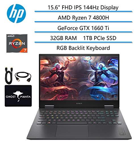 "2020 HP OMEN Gaming Laptop, 15.6"" FHD IPS 144Hz, AMD Ryzen 7 4800H 8-core(Beat i7-9850H), GeForce GTX 1660 Ti, 32GB RAM, 1TB PCIe NVMe SSD, RGB Backlit Keyboard, WiFi 6, w/GM Accessories"