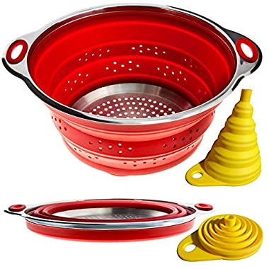 Combo of Collapsible Colander & Folding Funnel - Each Folds to 1 Inch. Silicone & Stainless Steel Kitchen Gadget. Camper/Trailer / RV Accessories for Organization and Storage Solutions. Red Strainer