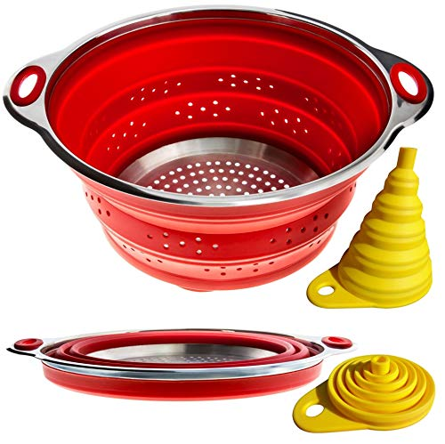 Combo of Collapsible Colander + Folding Funnel - Each Folds to 1 Inch. Volume 3 qarts or 2 qt (Semi-Collapsed). Silicone + Stainless Steel Kitchen Gadget. RV Accessories for Organization and Storage
