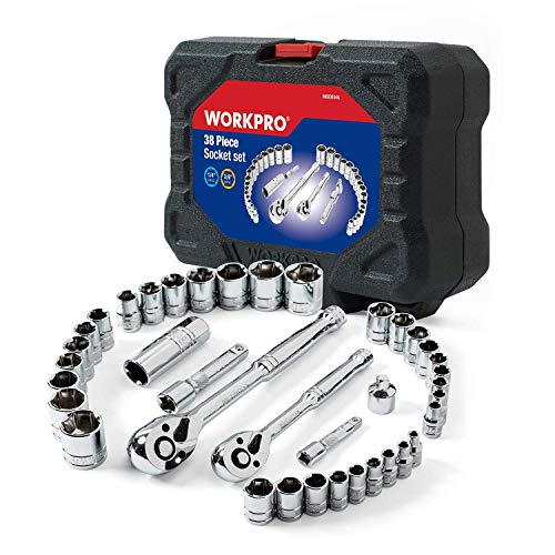 WORKPRO 38-Piece Drive Sockets Set 1/4-inch&3/8-inch Reversible Ratchets and Molded Case