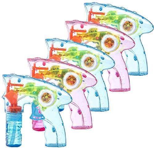 Prextex.com 5er-Packung aufziehbare Seifenblasenpistolen mit LED-Beleuchtung   Seifenblasenmaschine für drinnen und draußen   Spielzeug für Jungen und Mädchen ohne Batterien