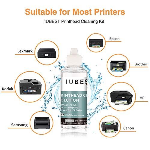 IUBEST 100ml Kit Limpieza Cabezales Impresora, Limpiador de boquillas para Limpiar los Cabezales de impresoras de Inyección de tinta Epson, Canon, HP, Lexmark, Brother