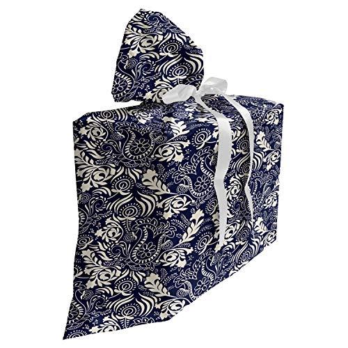 ABAKUHAUS Persiano Baby Shower Sacchetti Regalo, Curvi Foglie orientali, Sacchetto Bomboniera Riutilizzabile in Tessuto con 3 Nastri, 70 x 80 cm, Navy Blue Crema