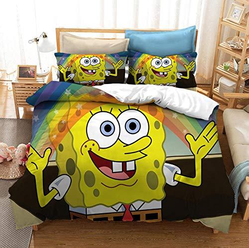 Bob Esponja funda nórdica 3D juego de cama para niños cama individual ropa de cama doble, niños dibujos animados animación funda nórdica funda de almohada textiles para hogar-D_200x200cm (3 pcs)