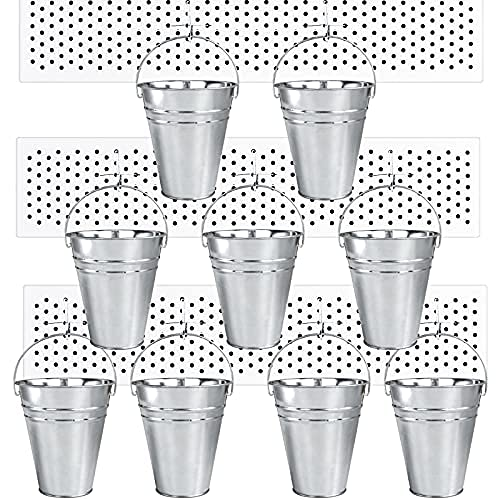 PegBoard Cups with Hooks 9 Pack Set, Peg Hooks Assortment Organizer Accessory, Various Tools Storage Arrange System Kit, for Garage Craft Workshop Workbench Hobby Office