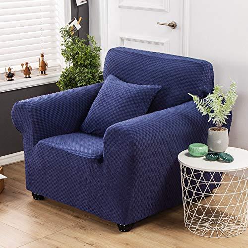 Carvapet Elastischer Sofabezug Sofahusse Gestrickte Couchbezug Sofa Couch Überwürf Couchhusse Schutz für Sofa(Marine,Stuhl Sofa)
