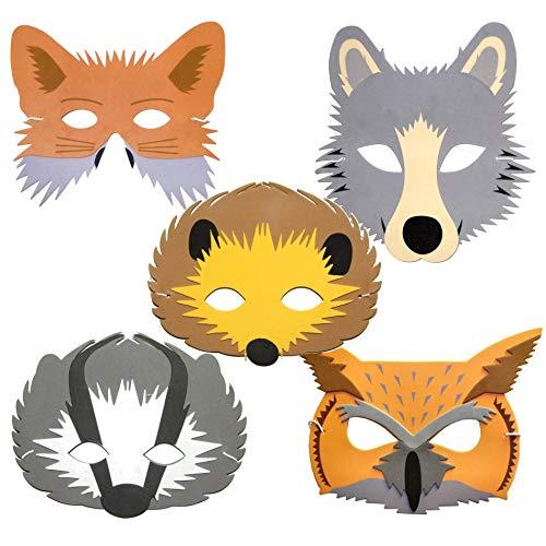 Blue Frog Toys 5 Woodland Animal Childrens Foam Face Masks - Fox, Badger, Hedgehog, Wolf & Owl