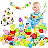 Montessori Toys for Toddlers, Jaolex 72pcs Wooden Lacing Beads, Educational Stringing Beads with Animals Vehicles Fruits, Fine Motor Skills Toys for 3 4 5 Year Olds