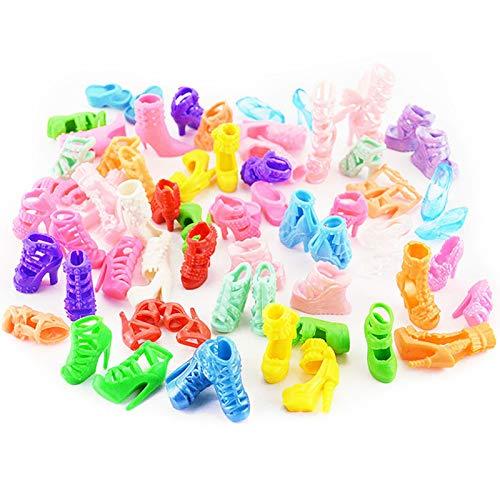 Nikula Conjunto de Ropa de muñeca para muñecas Barbie Incluye 12 Faldas de muñeca 5 Tiaras 12 Pares de Zapatos 6 Accesorios para muñeca Barbie para Bolsas de Organza con cordón Embalaje de up-to-Date