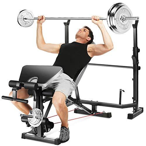 Aceshin - Soporte para levantamiento de pesas para cama de levantamiento de pesas, soporte para sentadillas, multifunción, ajustable, peso olímpico, equipo de entrenamiento de fuerza