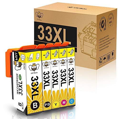 CMYBabee 33XL 33 XL Cartucce Inchiostro Ricambi Alto Rendimento Compatibile per Stampanti Epson XP-640 XP-530 XP-830 XP-645 XP-540 XP-900 5-Pacco (1 nero,1 photo nero,1 giallo, 1 ciano,1 magenta)