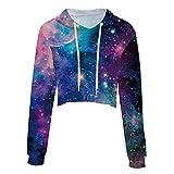 Ecohaso Women's Crop Top 3D Print Graphic Casual Hoodie Sweatshirt (Galaxy, S/M)