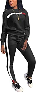 Women's 2 Piece Tracksuit Long Sleeve Pullover Top Long Bodycon Pants Set Outfits