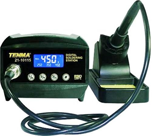 Tenma 21-10115 60W Compact Digital Soldering Station, High Contrast LCD, Lead-free, Temperature Lockout, Three Programmable Presets, Lightweight Iron Handle with Silicone Cord, ESD Safe