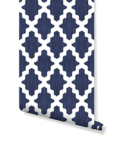 Temporary Self Adhesive Wallpaper with Moroccan damask pattern in navy blue and white, great for Bedroom & Living Room wall decor, Peel and stick application CC006 (24'' x 48'')