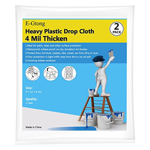 E-Gtong 2-Pack 4 Mil Plastic Drop Cloth, 9-Feet by 12-Feet Waterproof Heavy Duty Clear Plastic Tarp, Plastic Painting Tarp, Plastic Sheeting for Furniture, Wall Painting, Patio