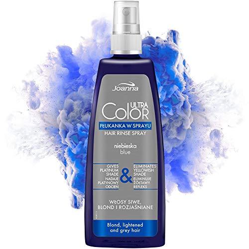 Joanna Ultra Color - Blaue Farbspülungsspray für Blondes und Helles Haar - Platin-Grauer Farbton - Natürlicher Glanz & Haarpflege - Beseitigt Gelbstich in Haar - Wäscht sich von selbst aus - 150 ml