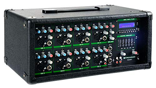 Pronomic PM82U MP3 8-Kanal Powermischer (Mischpult mit Verstärker und integriertem USB/SD MP3-Player, 2x 300 Watt, Mic/Line/Instrument-Input, 5-Band Graphic Equalizer im Masterkanal)