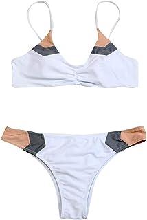 N-B Bikinis Mujer 2021 Verano Tirantes Push Up Color de Costura Trajes de Baño de Dos Piezas Sexy Bañador Natacion Ropa To...