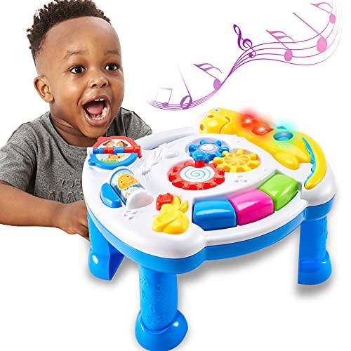 TOEY PLAY Tavolo Musicale Bambini, Tavolo Multiattivita degli Dinosauro Giocattoli, Tavolino Gioco Centro Attivita, Luci e Suoni, Regalo per Bambini 1 Anno