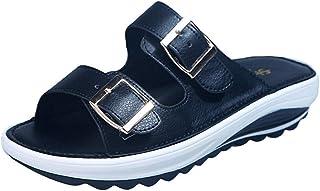 ZUOX Doux Antidérapant Pantoufles de Bain,Été Plat Talon Plat Glisser, Boucle de métal Dames Chaussures de Plage-Noir_35,T...